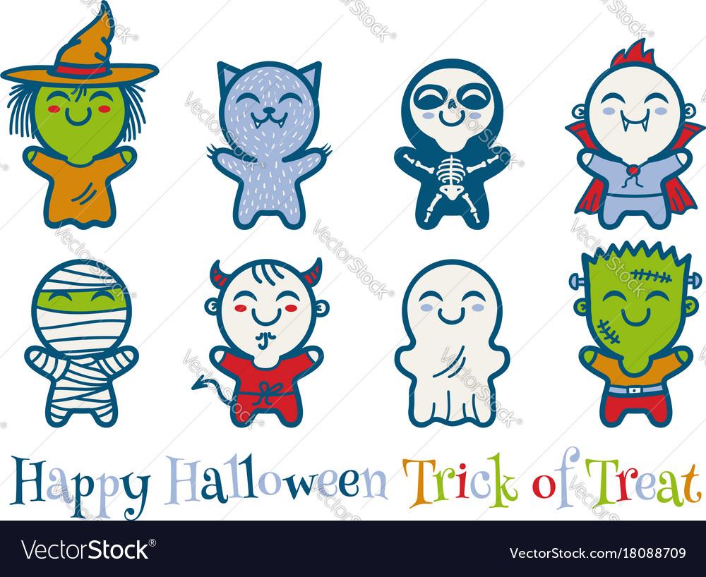 Kids in halloween monsters costumes