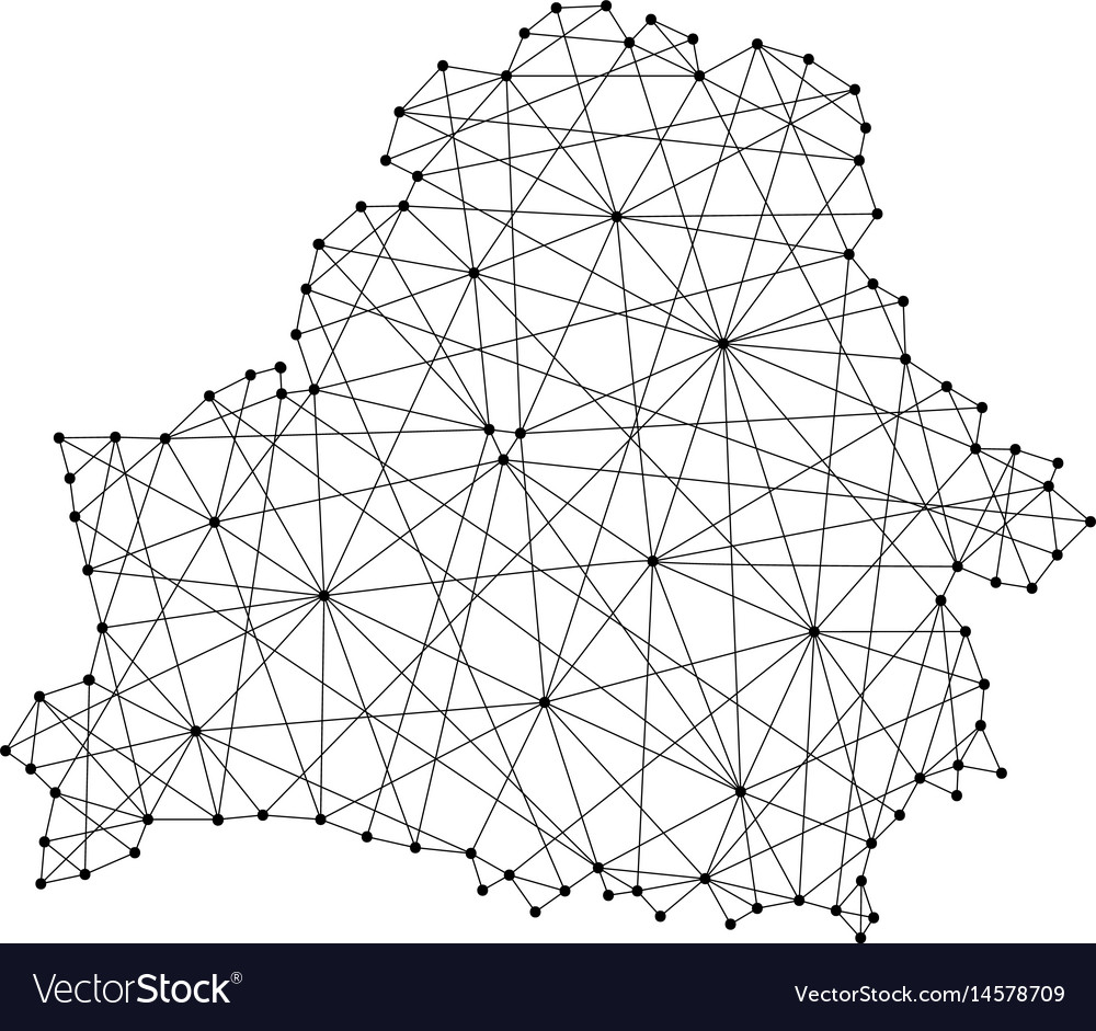 Map of belarus from polygonal black lines