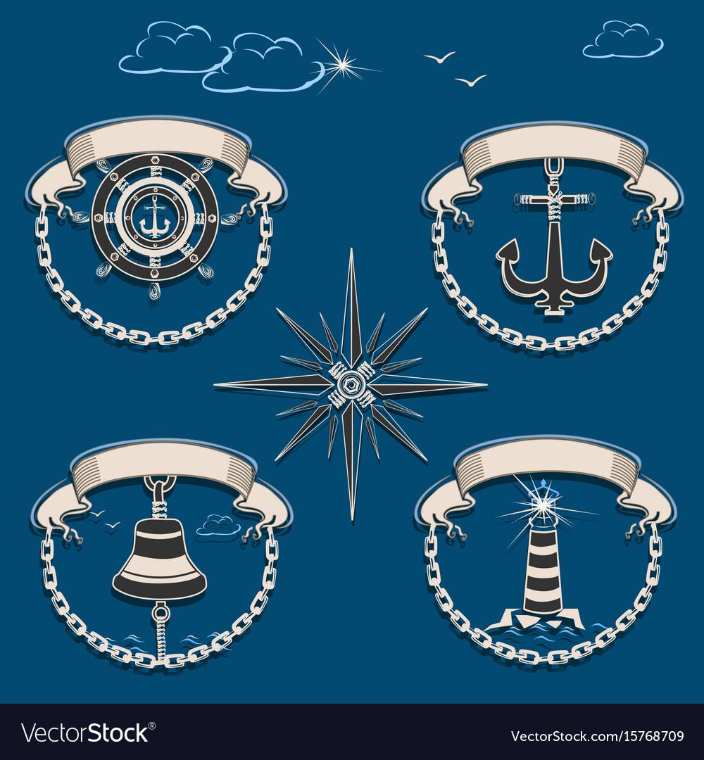 Marine emblem set vector image