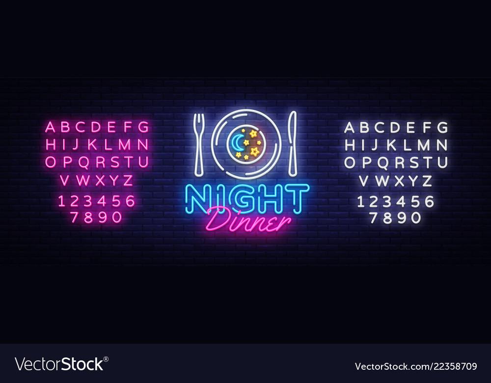 Night dinner neon sign restaurant logo