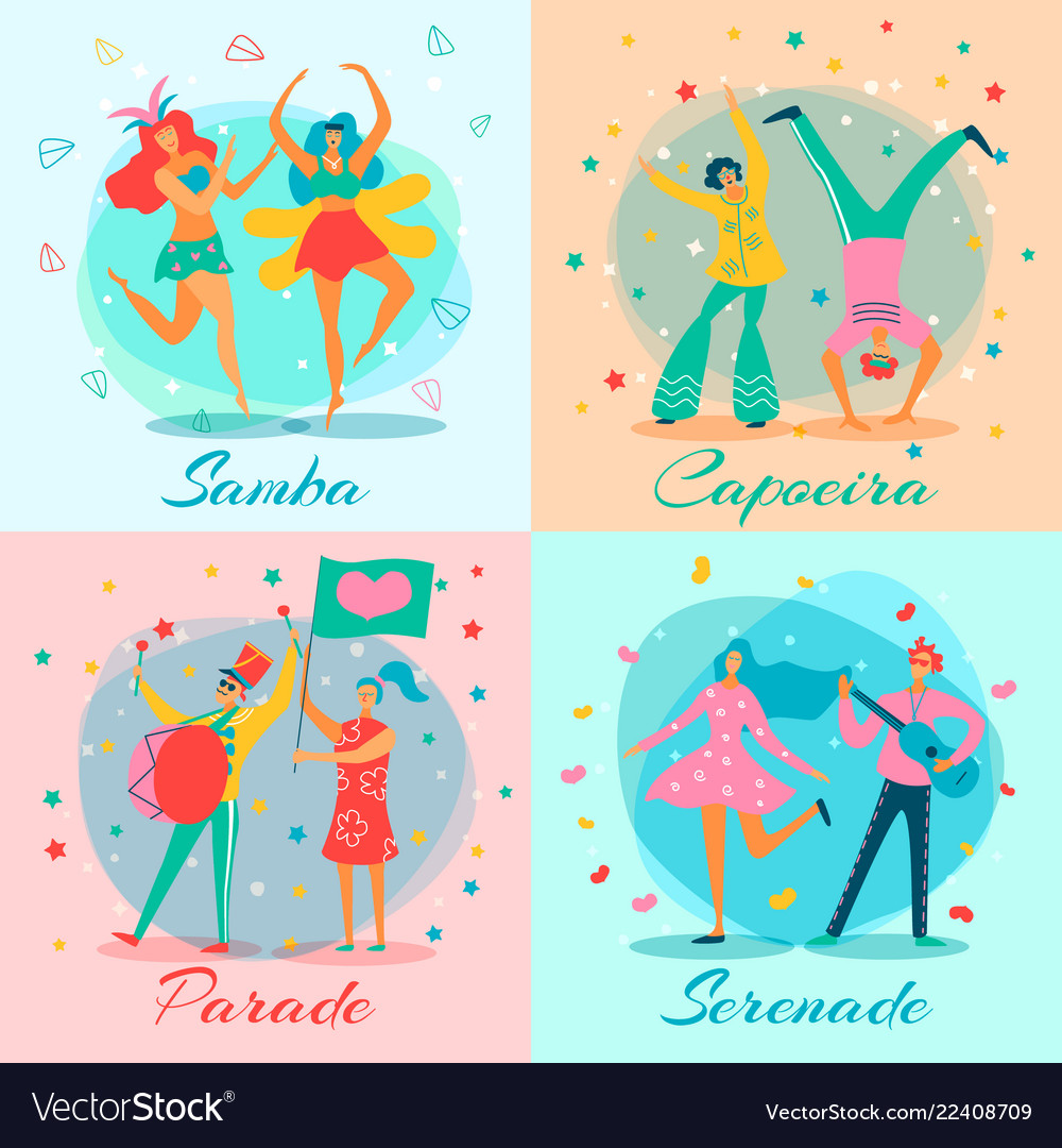 Parade people flat icon set