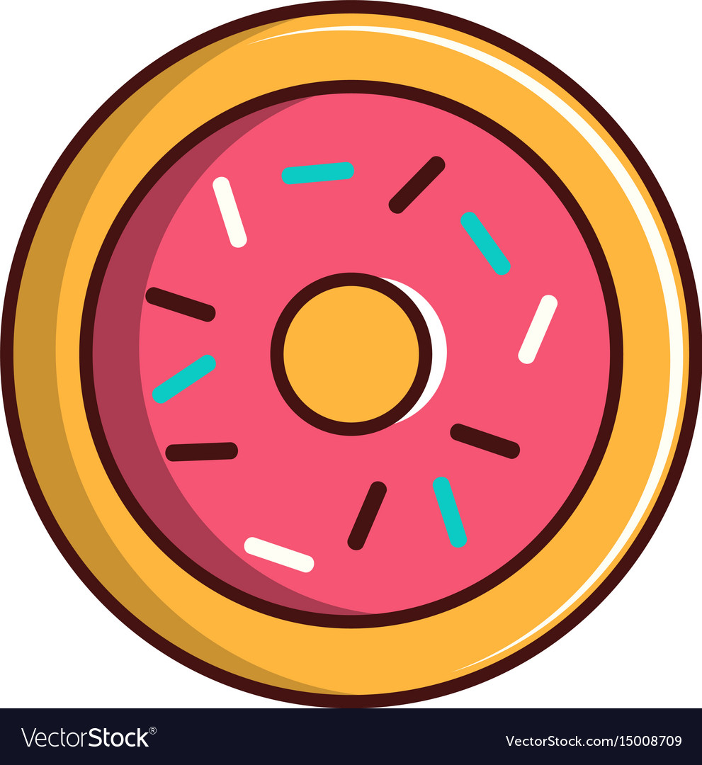 Pink glazed donut icon cartoon style