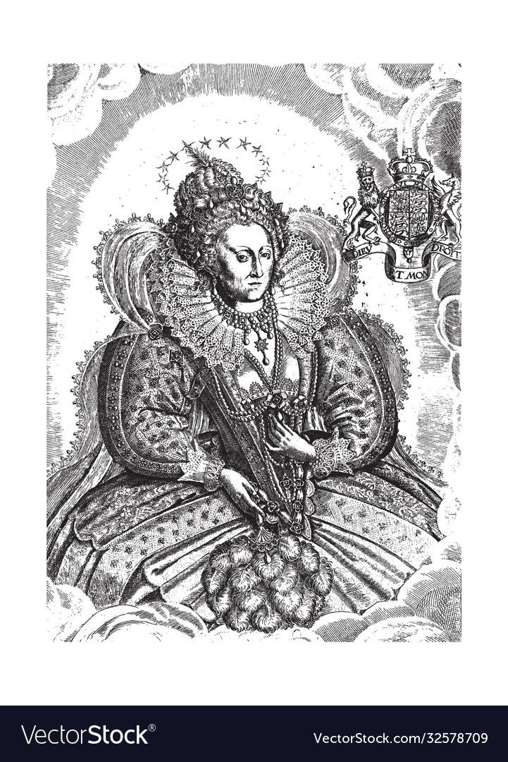Printvintage engraving portrait queen