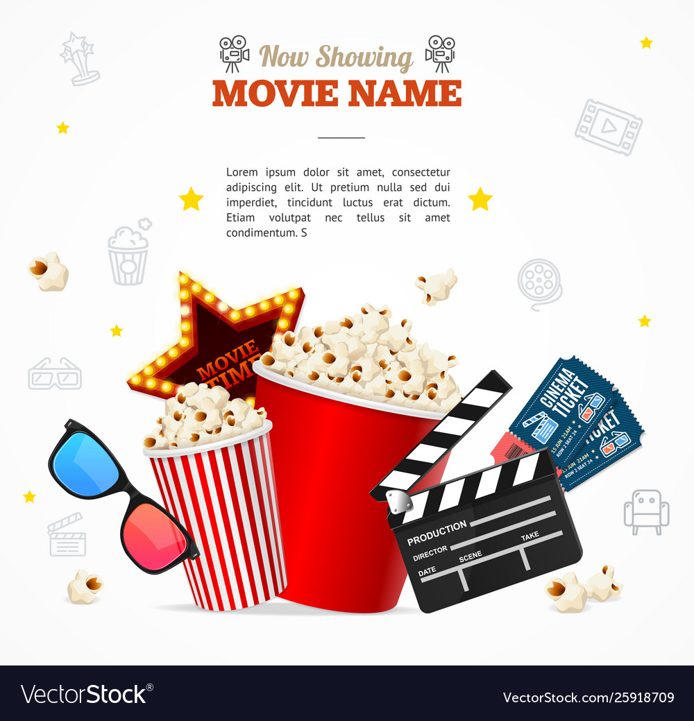 Realistic 3d detailed cinema concept banner card