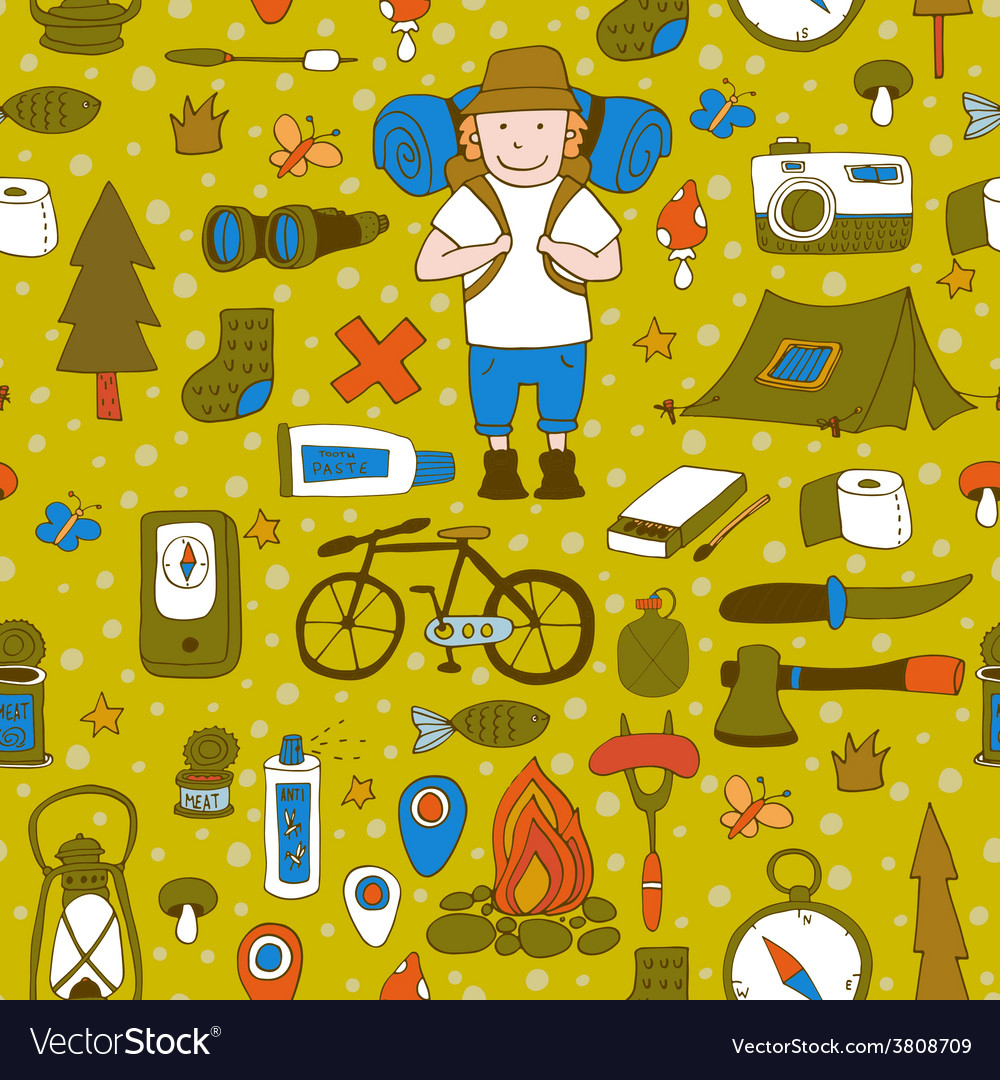 Seamless pattern with adventure equipment