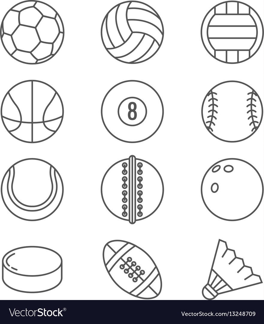 Sports balls thin line icons basketball