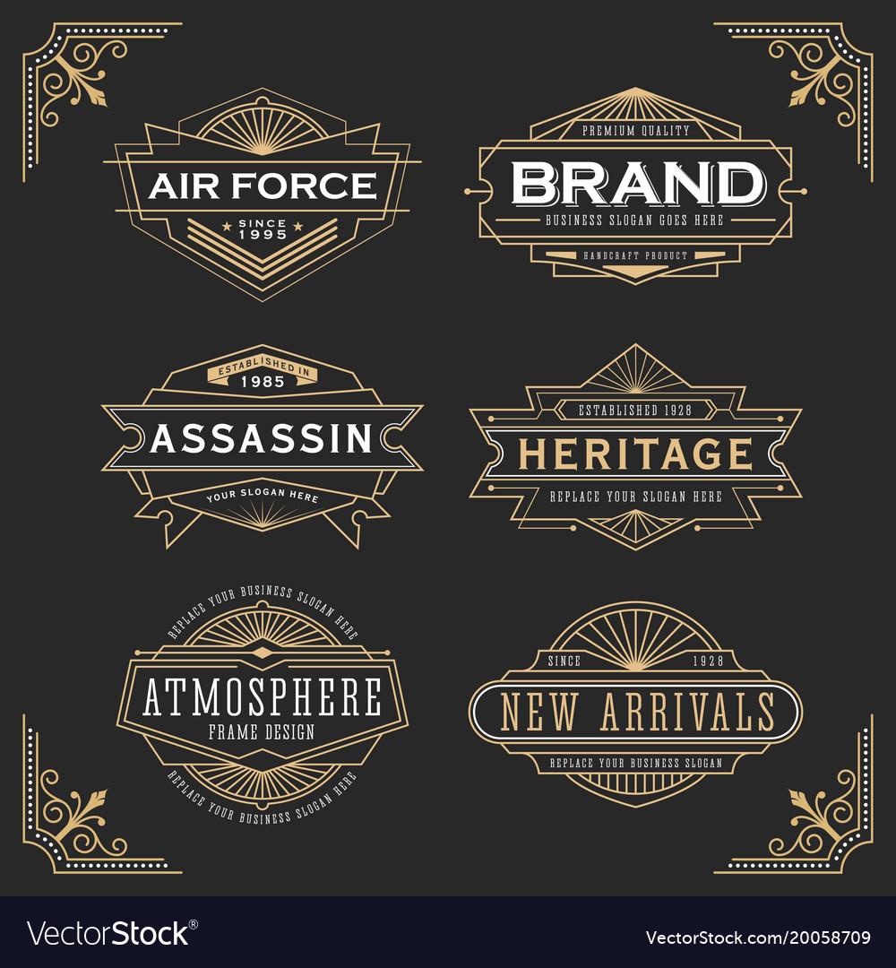 Vintage line frame design for label and banner