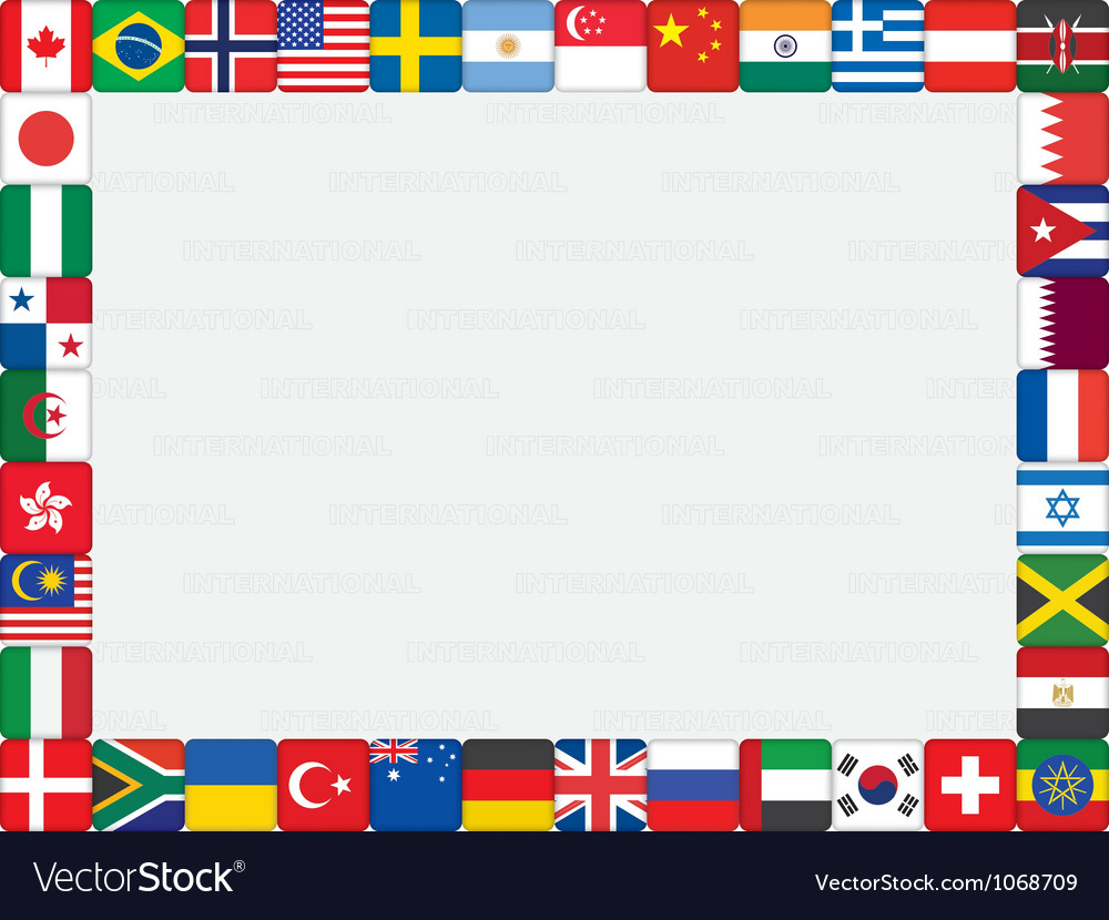 World flag icons frame Royalty Free Vector Image