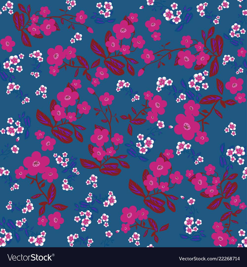 Blue flowers seamless print