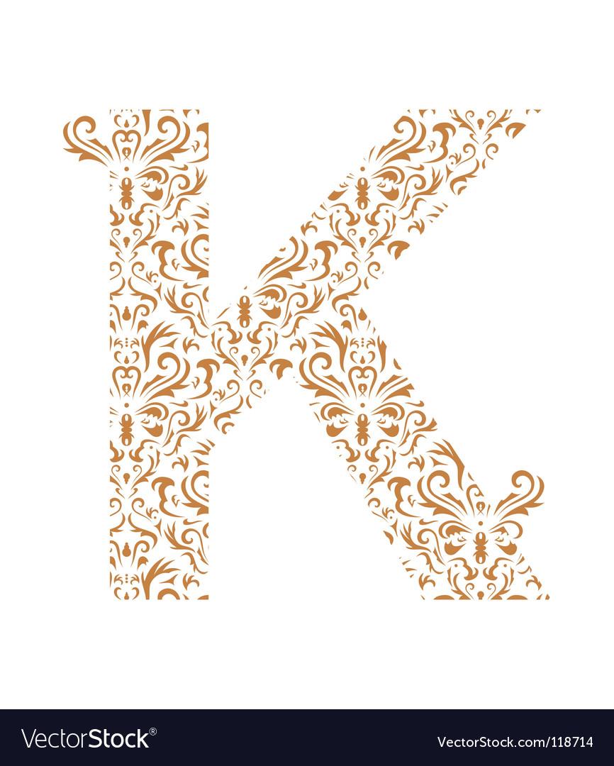 Floral Letter K Ornament Font Royalty Free Vector Image