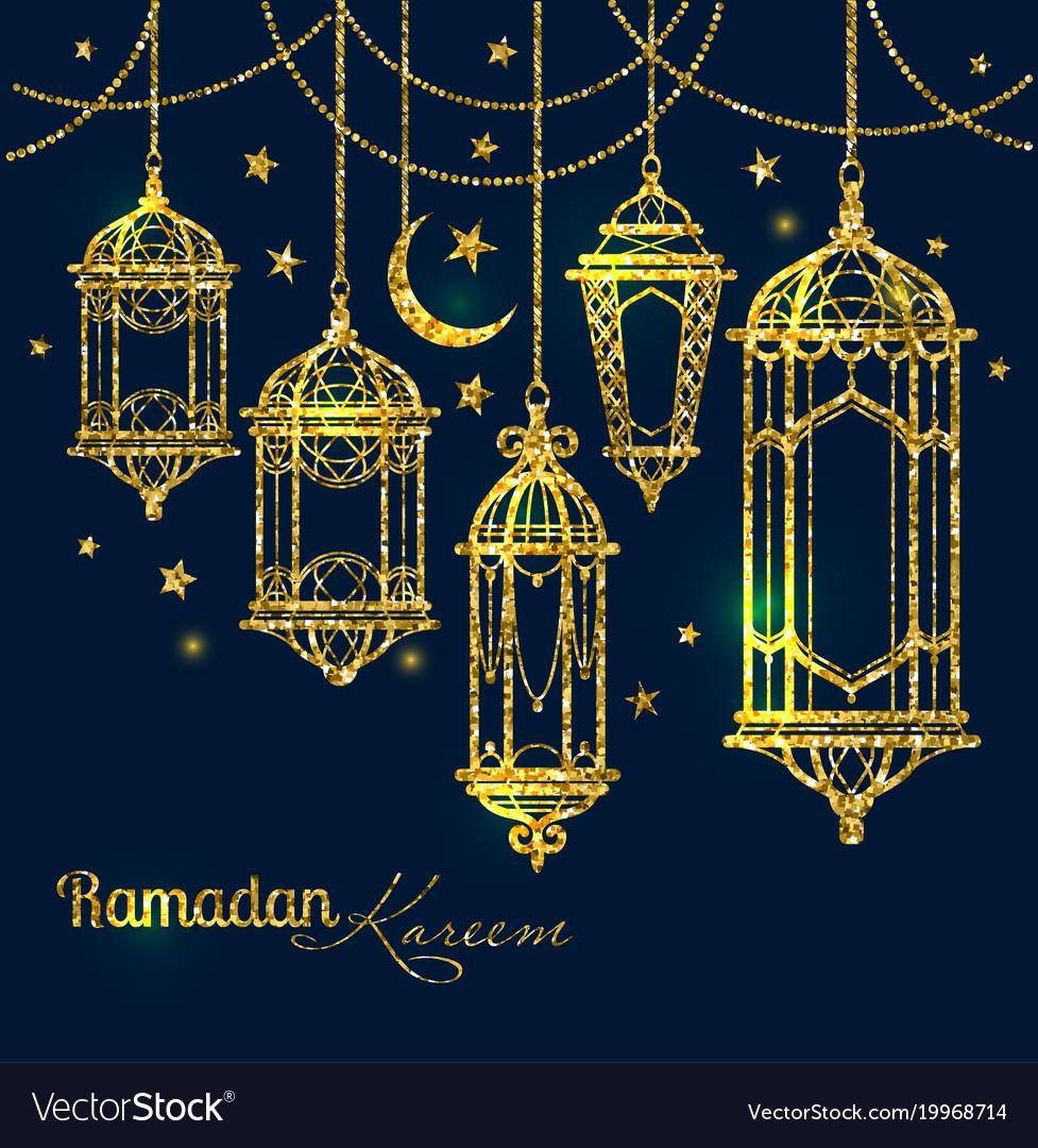 Greeting card ramadan kareem design with lamps and