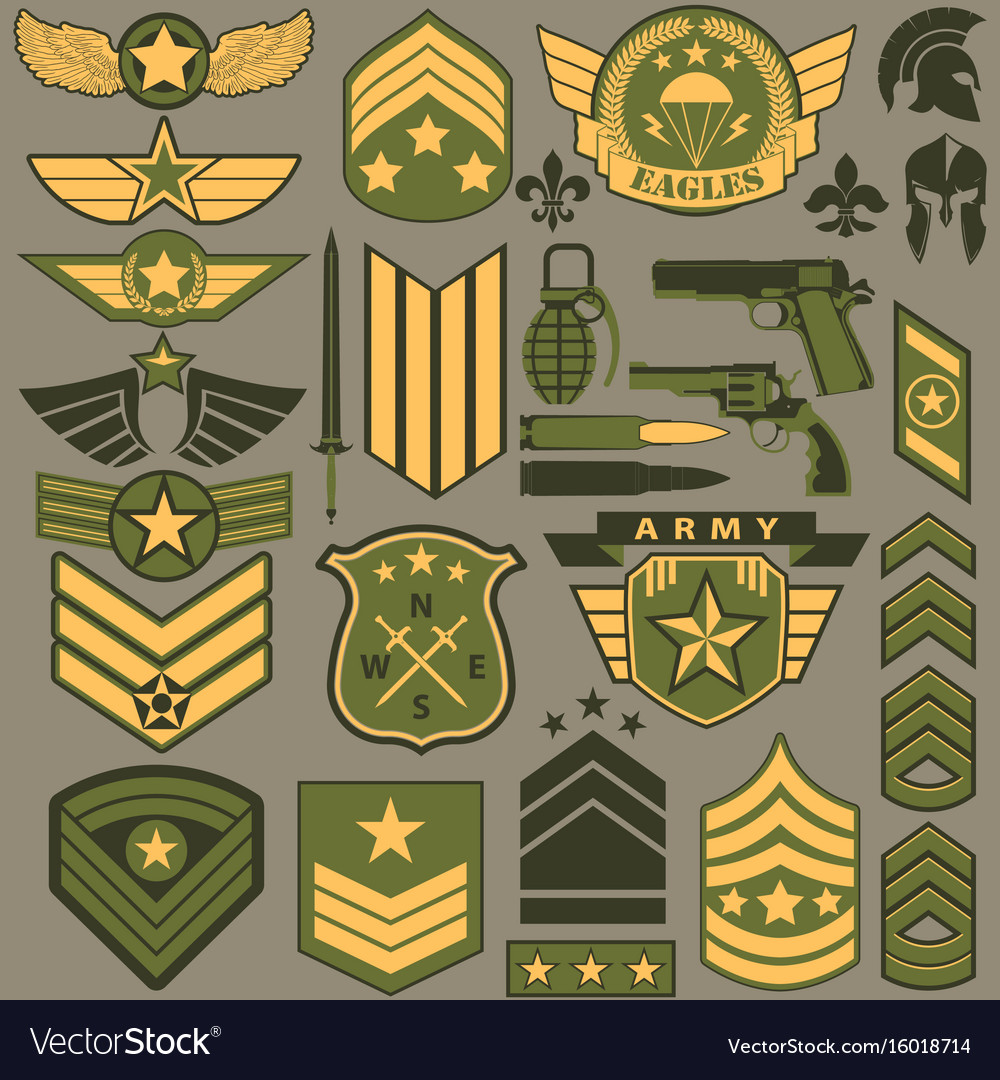 Military Symbol Set Army Patches Royalty Free Vector Image