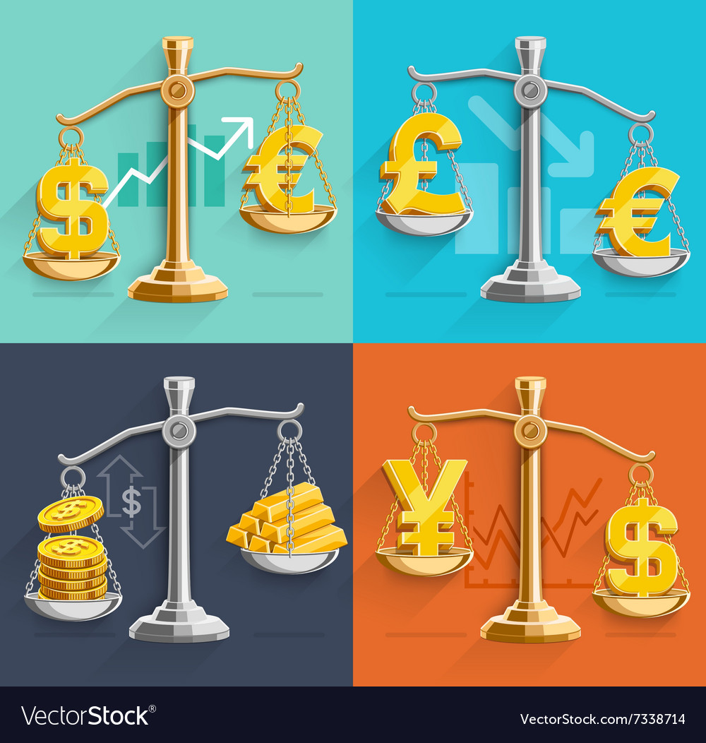 Money sign icons and gold bars on the scales