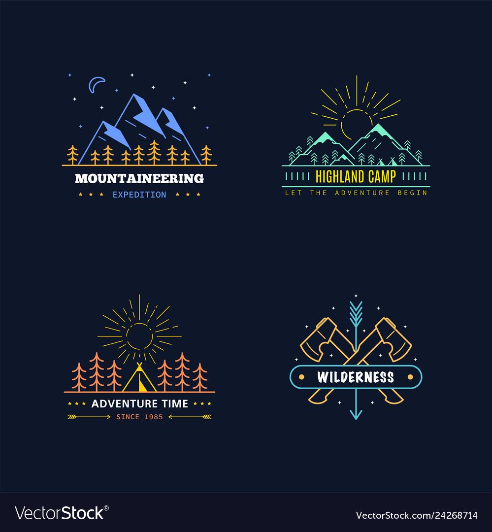 Outdoor activities logo set