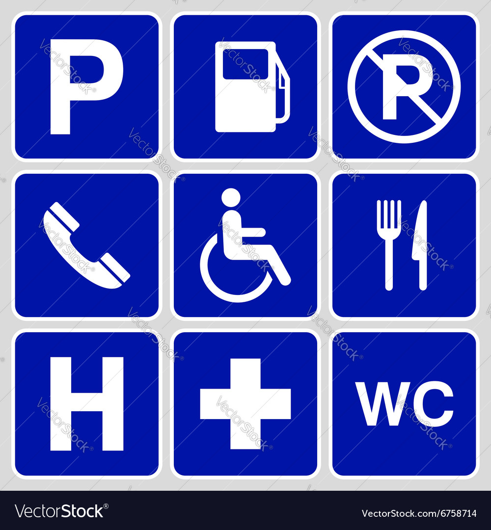 Parking Symbols And Signs Collection Royalty Free Vector