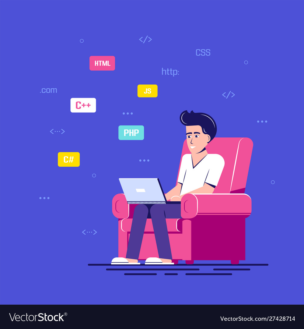 Programmer man character design flat style