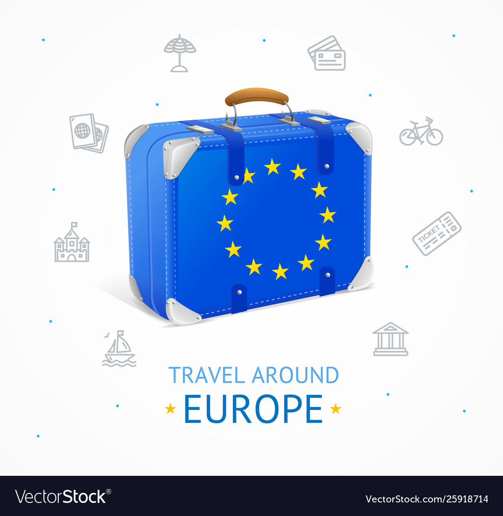 Realistic 3d detailed europe travel concept banner