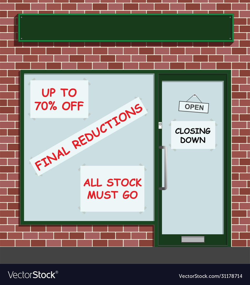 Retail shop closing down