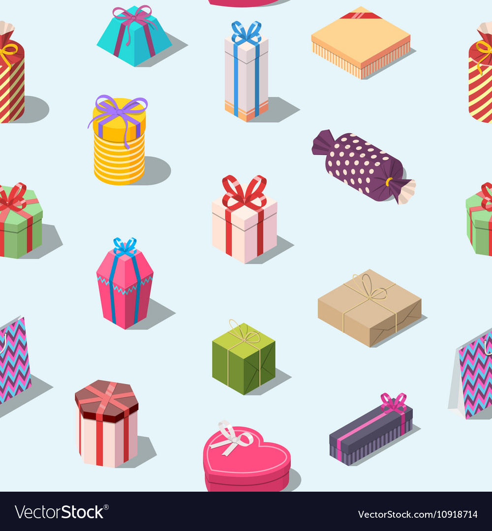 Seamless pattern with colored gift boxes