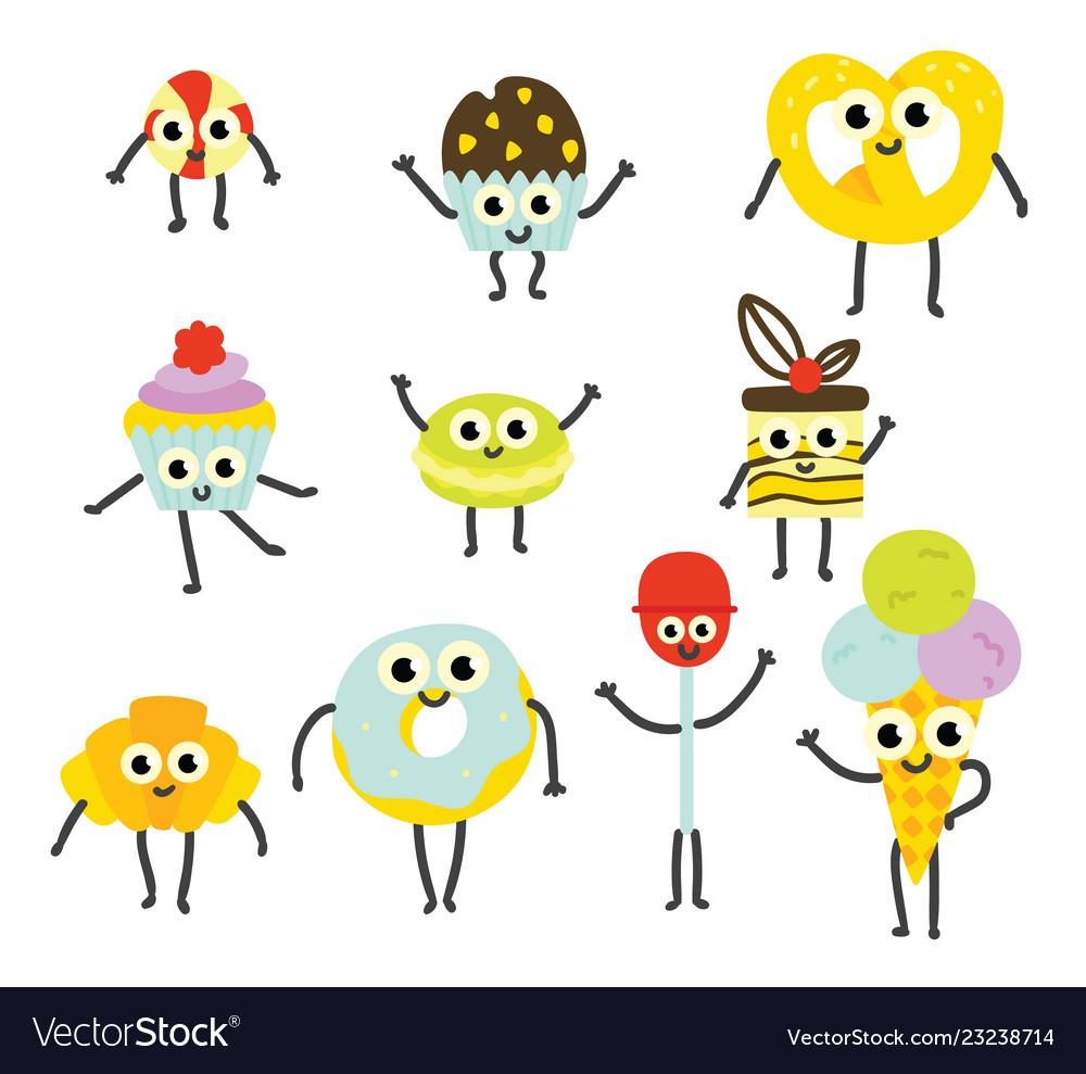 Set of sweet desserts cartoon