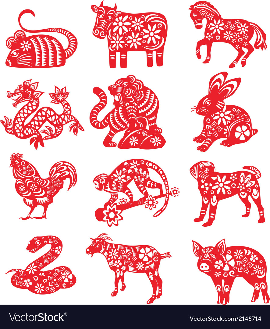 The twelve chinese zodiac paper cut