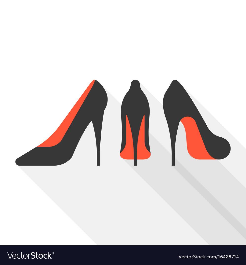 Woman high heels with long shadow