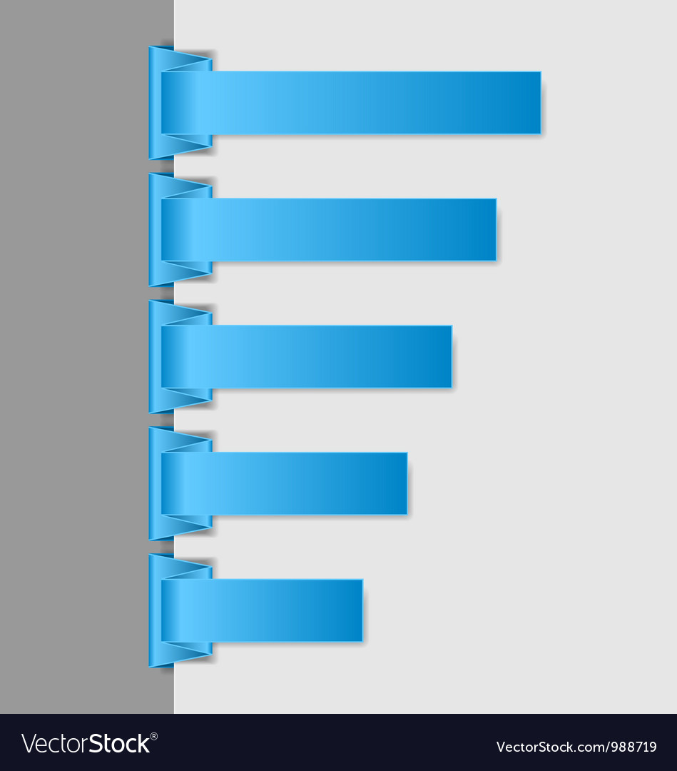 blue folded paper navigation menu royalty free vector image