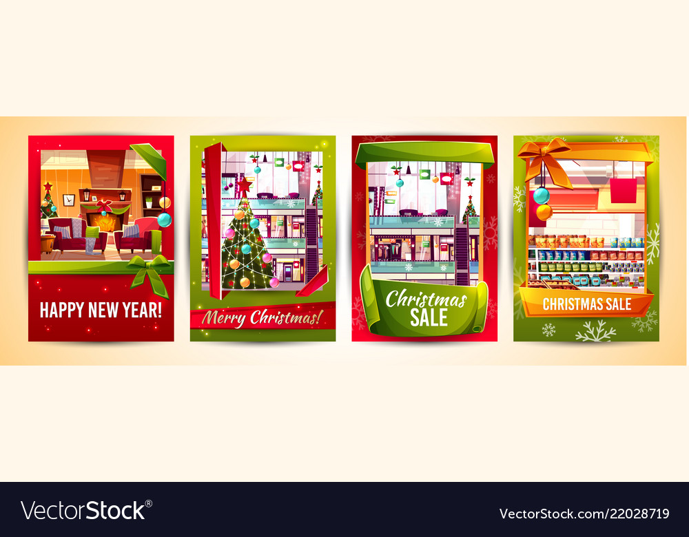 Christmas sale new year cards templates