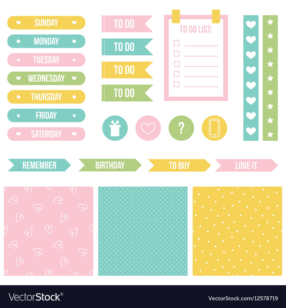 graphic regarding Printable Planner titled Adorable printable stickers for planner organizer