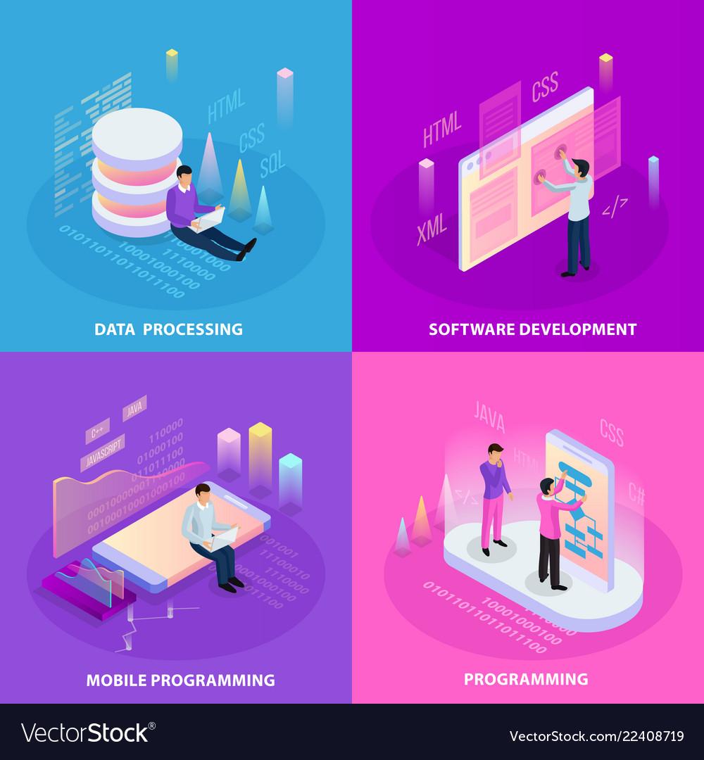Freelancer isometric design concept