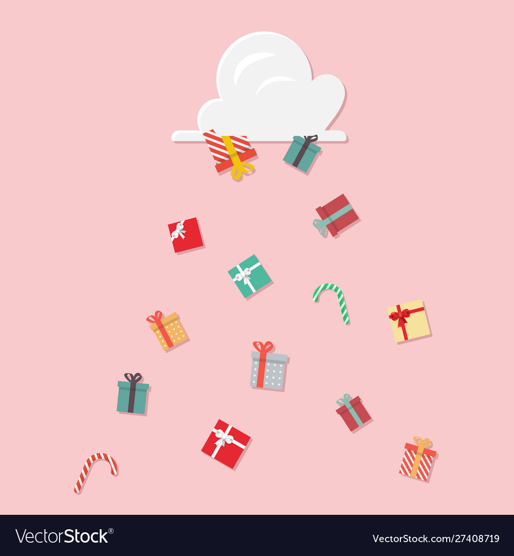 Gift boxes falling from cloud