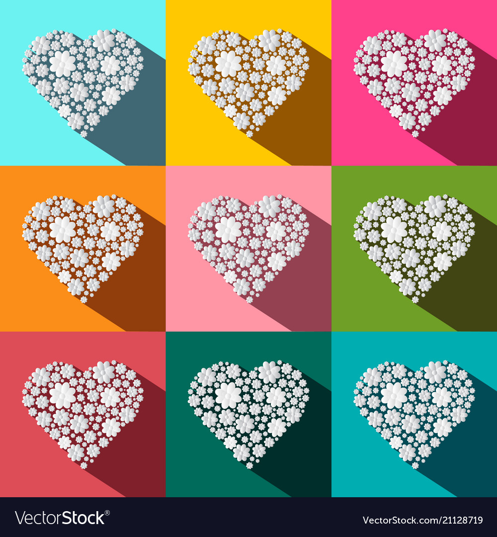 Hearts set paper cut flat design colorful heart