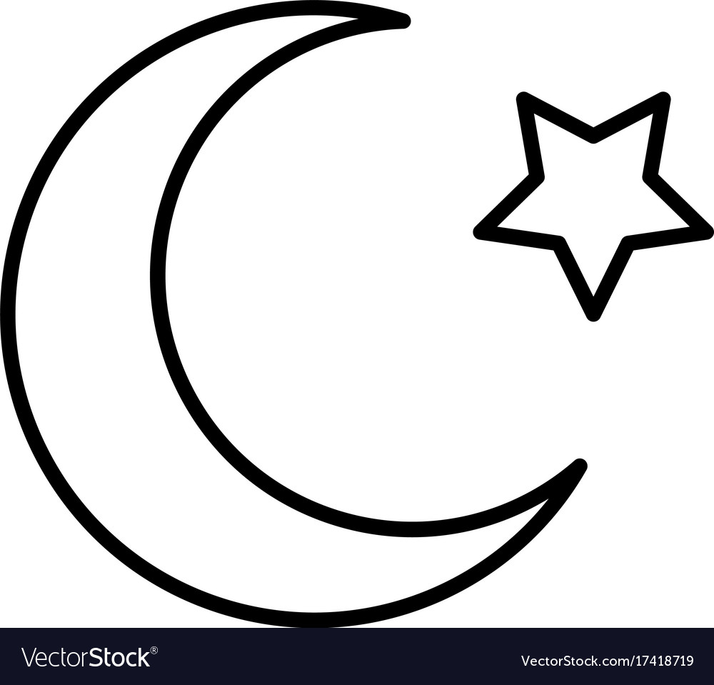 islam star and crescent moon icon royalty free vector image vectorstock