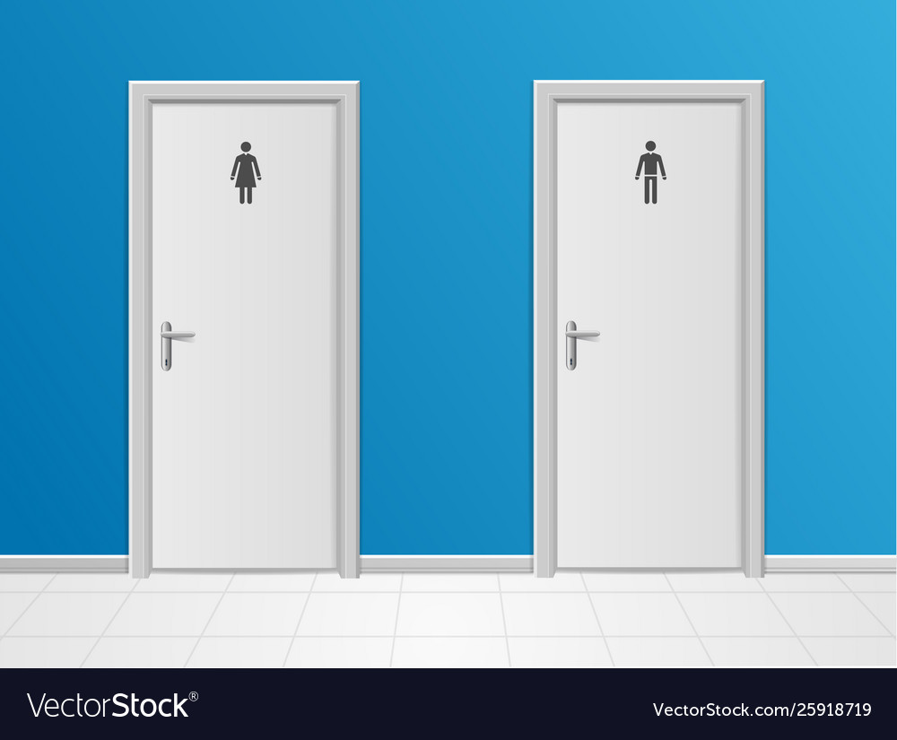 Realistic 3d detailed man and woman toilet closet