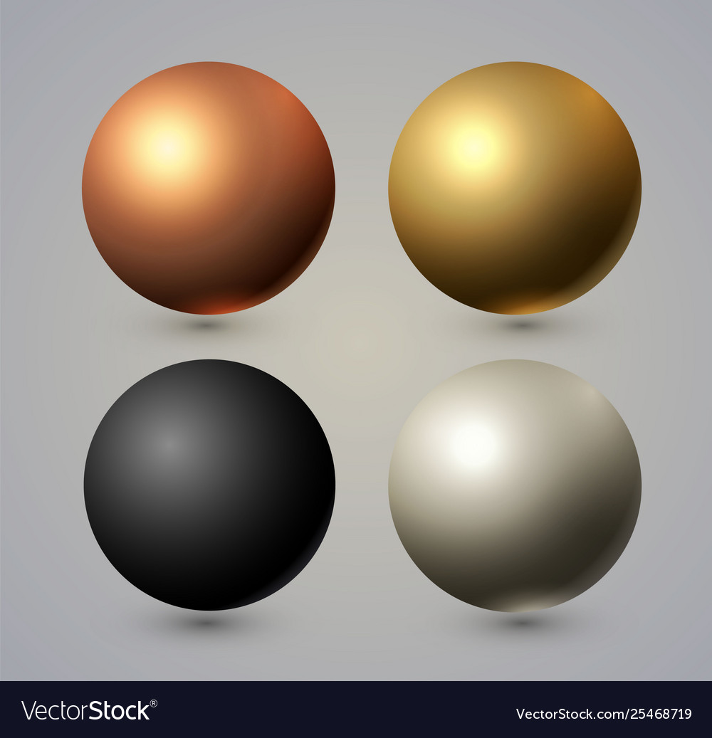 Realistic spheres set with reflection gold