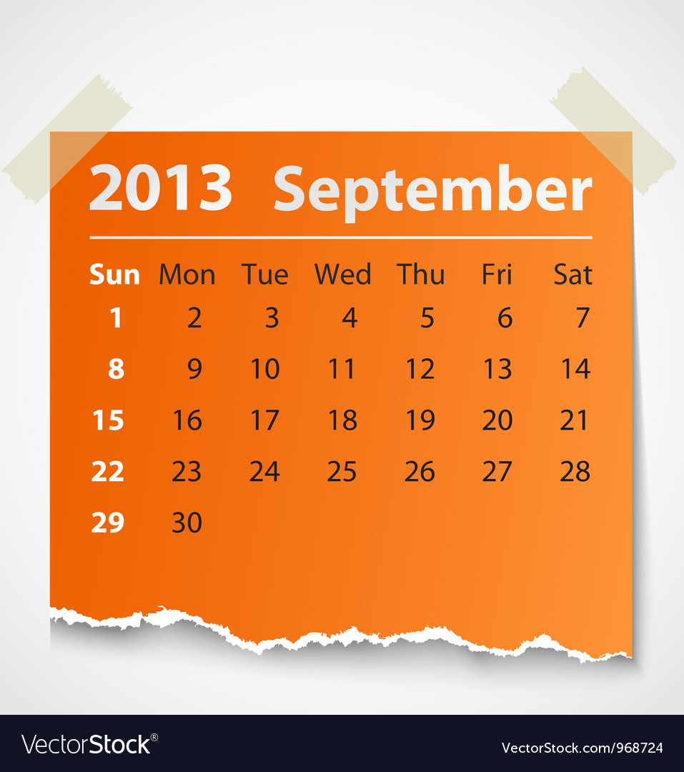 2013 calendar september colorful torn paper