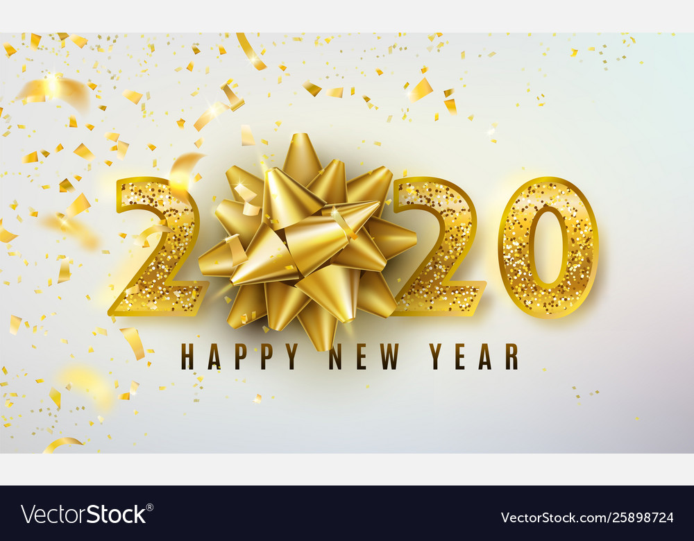 2020 happy new year background with golden