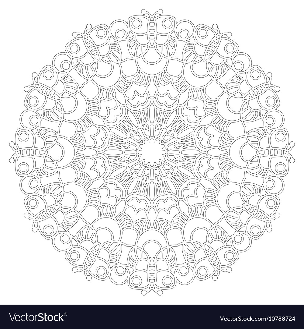Adult coloring book spring mandala black and white