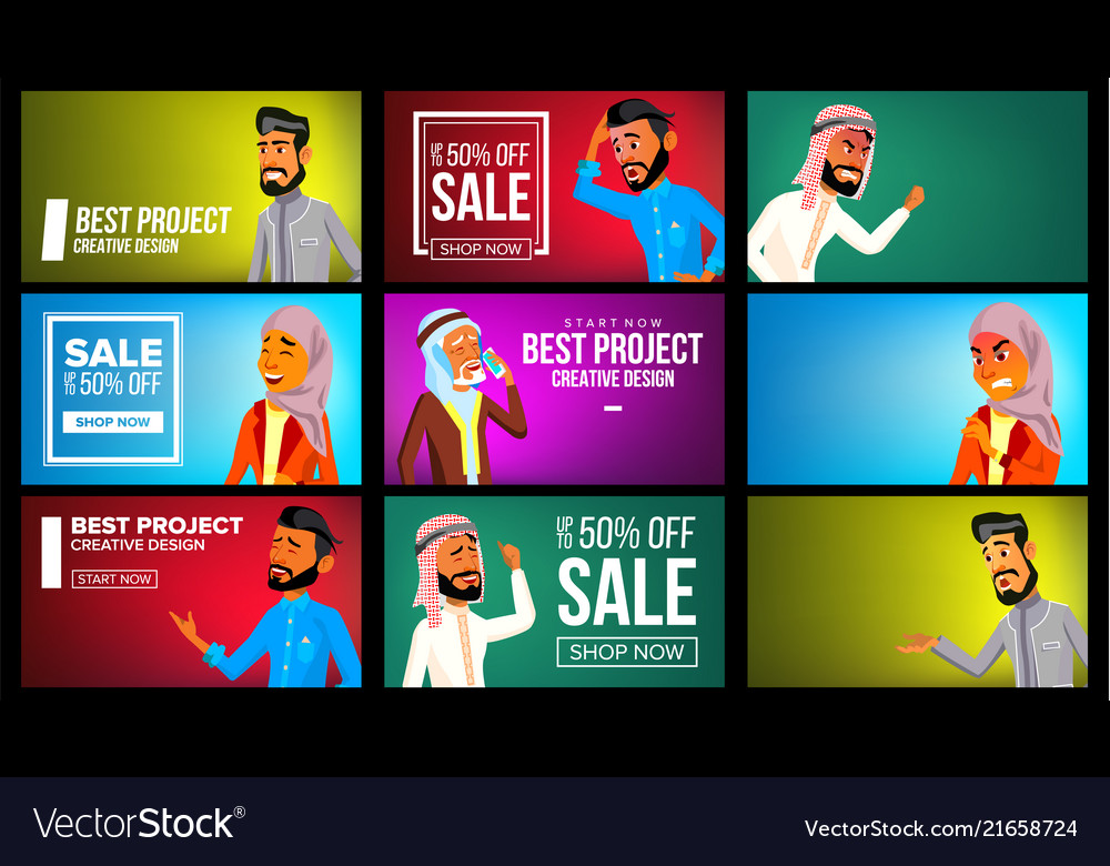 Arab man woman banner set arab business