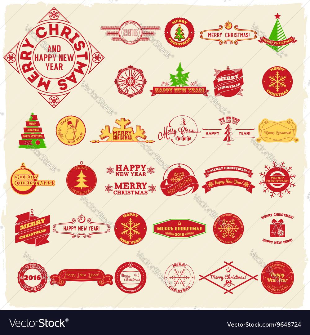 Big set of vintage Christmas labels vector image