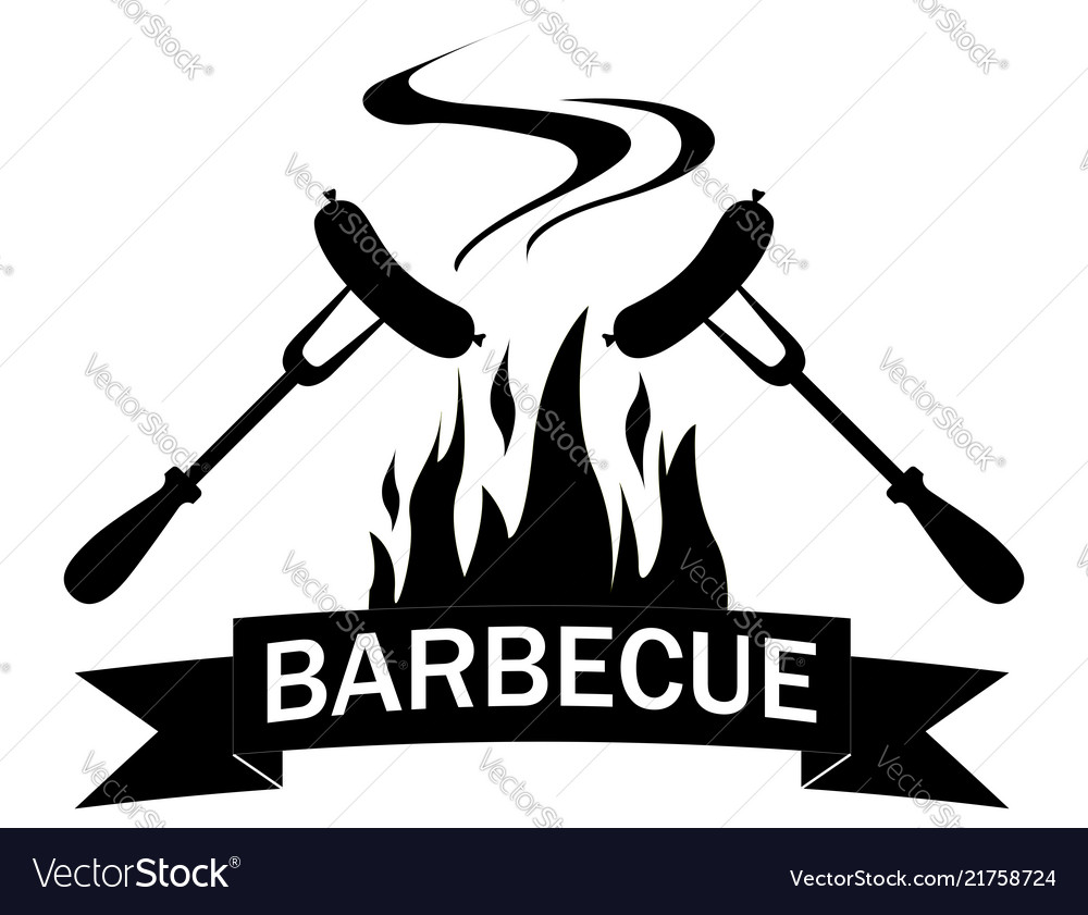 Black and white logo grilled food