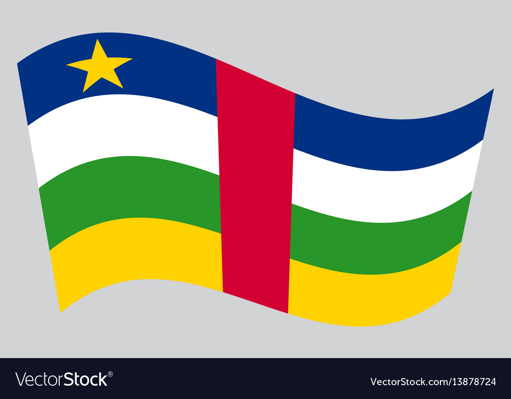 Central african republic flag wavy gray background