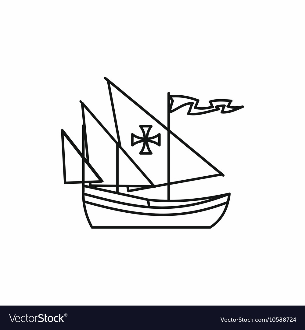 Columbus ship icon outline style