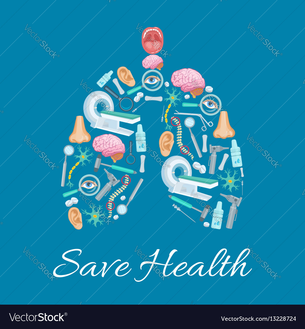 Human lungs poster composed of medical icons vector image