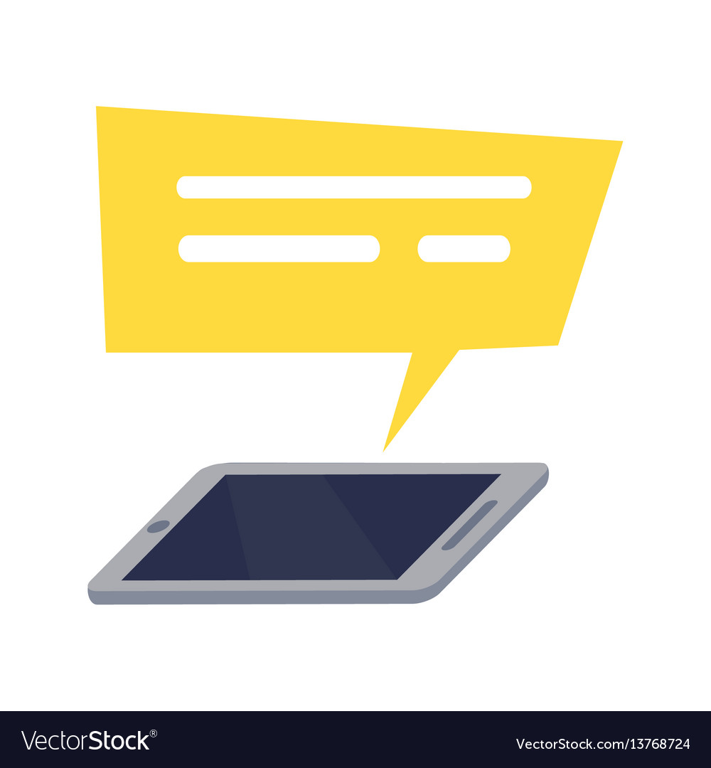 Mobile phone with yellow rectangle speech icon vector image