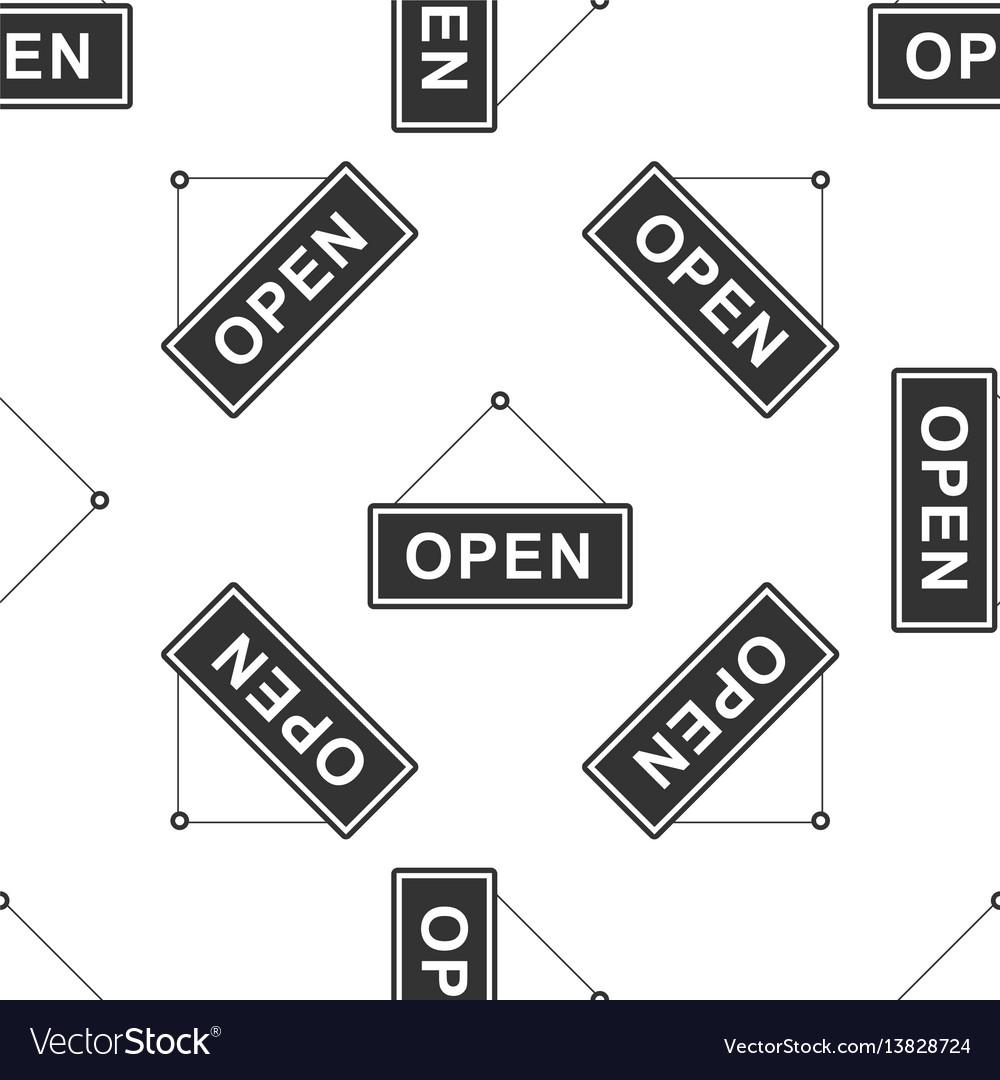 Open door icon seamless pattern on white