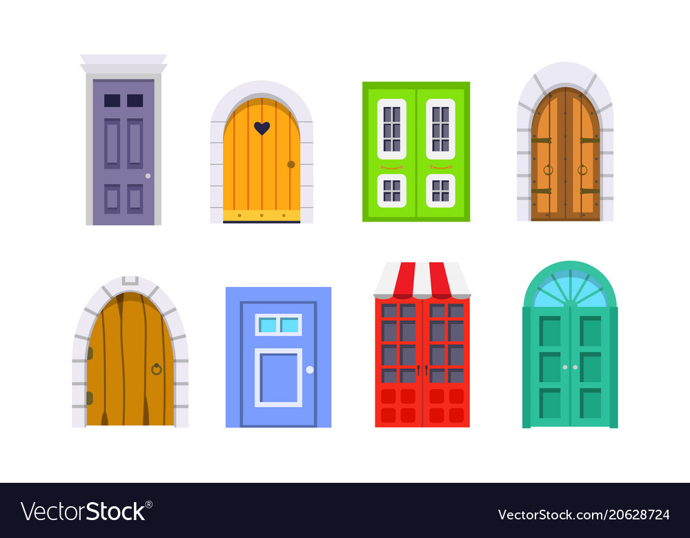 Set entrance door front view homes and buildings