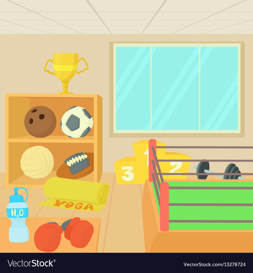 Fitness people training inside gym building scenery vector
