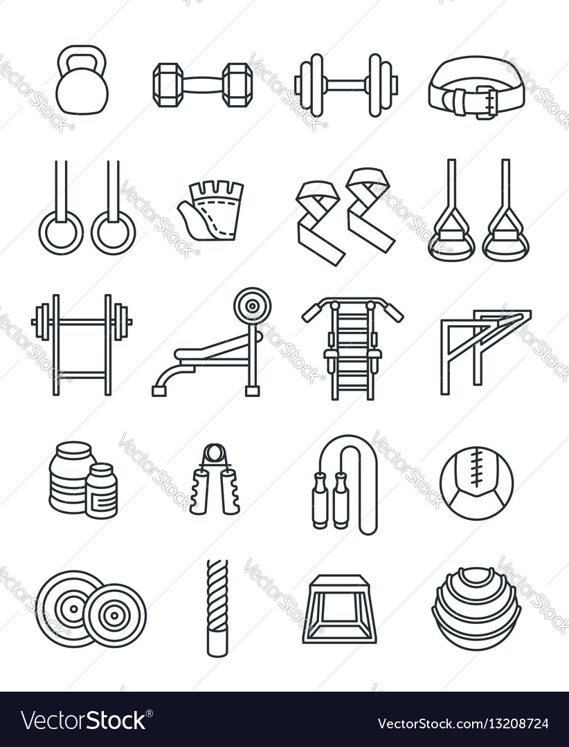 Weightlifting flat thin lines icons set
