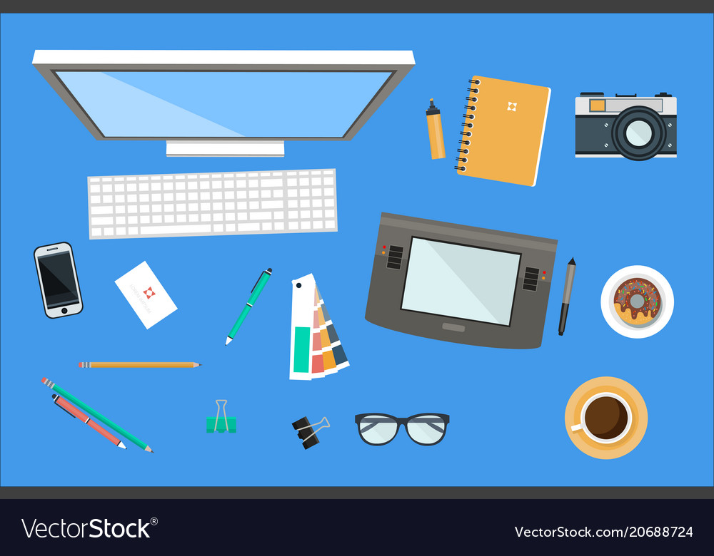 Workplace of designer office equipment mobile